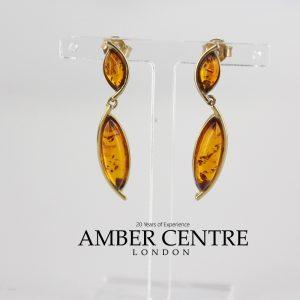 Italian Made Unique German Baltic Amber 9ct Gold Drop Earrings GE0101 RRP£230!!!
