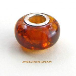 Amber & 925 Silver Charm fit for European/Danish charm bracelets -CHA66 RRP£35!!