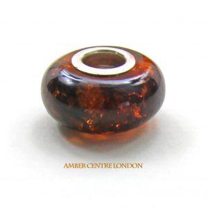 Amber & 925 Silver Charm Fit ALL European/Danish Charm Bracelets – CHA62 RRP£35!!!