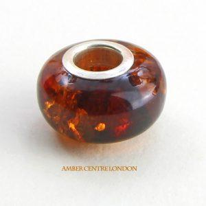 Amber & 925 Silver Charm Fit ALL European/Danish Charm Bracelets – CHA64 RRP£35!