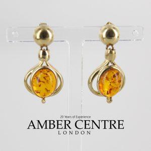 Italian Made German Baltic Amber Drop Earrings in 9ct Solid Gold GE0111 RRP£295!!!