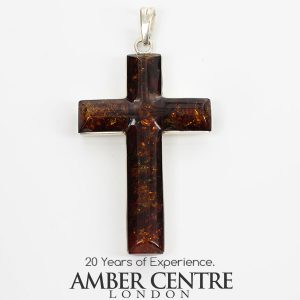 AMBER CROSS PENDANT Handmade Unique IN 925 SILVER PD085 RRP£145!!!