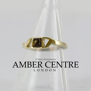 Genuine Italian Made 9ct solid Gold Ring German Green Baltic Amber Stone GR0071G RRP£195!!!