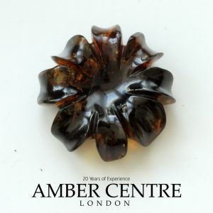 Dominican Blue Amber Unique Carved Exquisite Flower Carving OT1330 RRP£650!!!