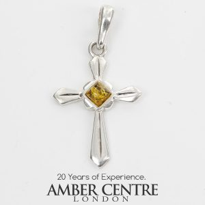 AMBER CROSS PENDANT BALTIC UNIQUE HANDMADE in 925 SILVER-PD114G RRP£25!!