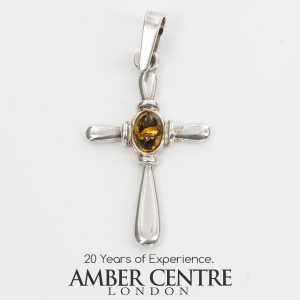 AMBER CROSS PENDANT BALTIC UNIQUE HANDMADE in 925 SILVER-PD115 RRP£25!!!