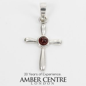 AMBER CROSS PENDANT BALTIC UNIQUE HANDMADE in 925 SILVER-PD116 RRP£25!!