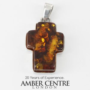 CROSS PENDANT HANDMADE UNIQUE GERMAN BALTIC AMBER IN 925 SILVER PD131 RRP£65!!!