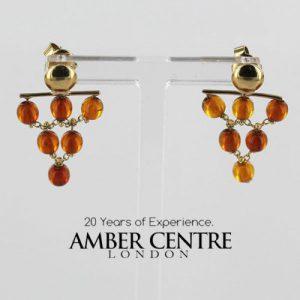 Italian Handmade Unique German Baltic Amber in 9ct Gold Drop Earrings GE0079 RRP£195!!!