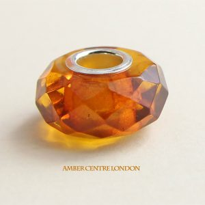 Amber & 925 Silver Faceted Charm fit for European charm bracelets -CHA74 RRP£40!!!