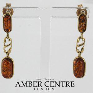 Italian Handmade Unique German Baltic Amber in 9ct Gold Drop Earrings GE0080 RRP£195!!!