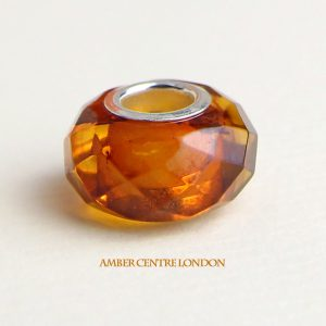 Amber & 925 Silver Faceted Charm fit for European charm bracelets -CHA73 RRP£40!!!