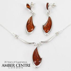 Italian Handmade German Baltic Amber Set 925 Sterling Silver- SET03 RRP£155!!!