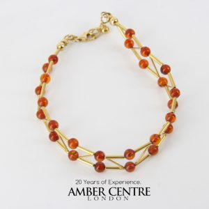 ITALIAN MADE UNIQUE GERMAN BALTIC AMBER BRACELET IN 18CT solid GOLD -GBR102 RRP£1450!!!