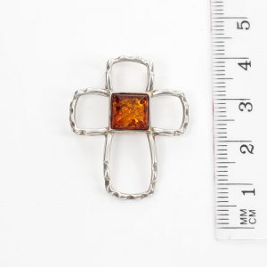 AMBER CROSS PENDANT BALTIC Amber HANDMADE in 925 SILVER-PD083 RRP£40!!