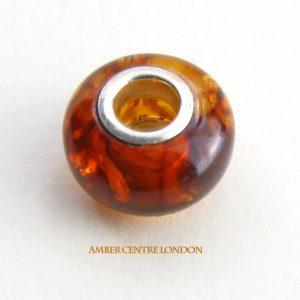 Amber & 925 Silver Charm Fit ALL European/Danish Charm Bracelets – CHA63 RRP£35!