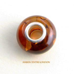 Amber & 925 Silver Charm fit for European/Danish charm bracelets - CHA68 RRP£40!!