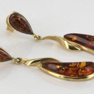 Italian Handmade Unique German Baltic Amber in 9ct Gold Drop Earrings GE0075 RRP£225!!!