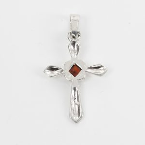 AMBER CROSS PENDANT BALTIC UNIQUE HANDMADE in 925 SILVER-PD114 RRP£25!!