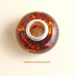 Amber & 925 Silver Charm handmade fit all European/Danish charm bracelets -CHA70 RRP£40!!!