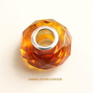 Amber & 925 Silver Handmade Faceted Charm fit for European charm bracelets -CHA77 RRP£40!!!