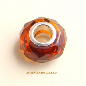 Amber & 925 Silver Handmade Faceted Charm fit for European charm bracelets -CHA78 RRP£40!!!