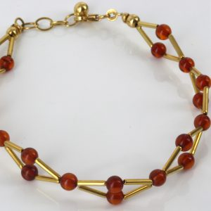 ITALIAN MADE UNIQUE GERMAN BALTIC AMBER BRACELET IN 18CT solid GOLD -GBR103 RRP£1000!!!