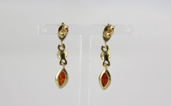 Elegant German Baltic Amber in 9ct Gold Italian Drop Earrings GE0103 RRP£225!!!
