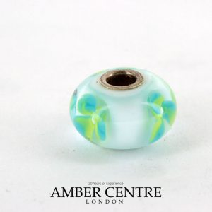 Genuine Trollbeads Handmade Unique Murano Glass- Ice Blue Flower 61167 RRP£35!!!