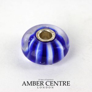 Genuine Trollbeads Handmade Murano Glass Retired - Blue Stripes 61360 RRP£30!!!