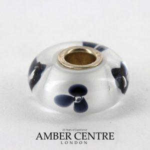 Genuine Trollbeads Handmade Murano Glass- Black Flower 64xxx-23 RRP£35!!!