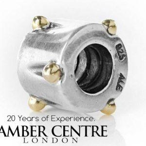 Genuine Pandora Special Unique Charm -Silver & 14k Gold Dots Drum -790229 RRP£70!!!