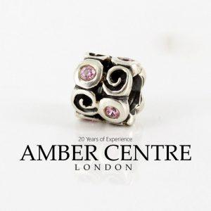 Pandora Genuine Unique Silver Charm - Pink Zirconia Swirl - 790263PCZ RRP£55!!!