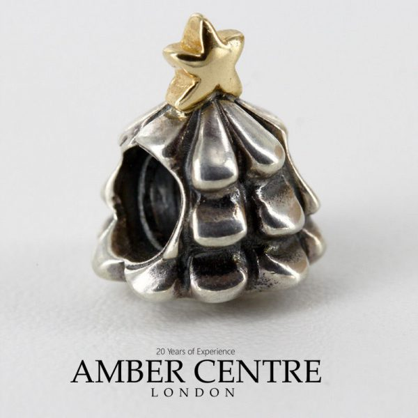 Genuine Pandora Silver & 14ct Gold Charm - Christmas Tree- 790365 RRP£95!!!