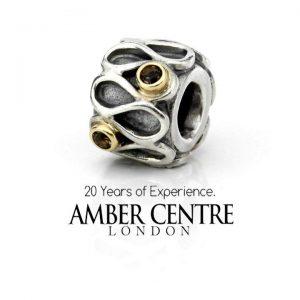 Genuine Pandora Silver and 14k Gold Charm - Smokey Quartz - 790366SQ RRP£150!!!