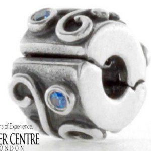 PANDORA Genuine 925 ALE Silver Clip with Blue Zirconia -790380CZB RRP£75!!!
