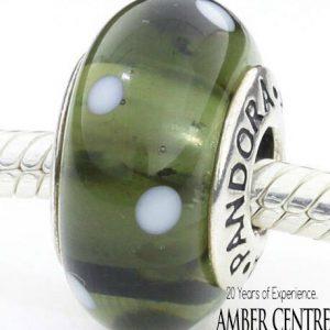 Genuine Pandora Silver Charm Murano Glass Bead with White Dots -790603 RRP£45!!!
