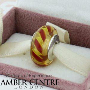 Genuine Pandora Murano Glass Charm - Orange with Red Stripes - 790624 RRP£45!!!