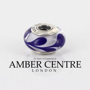 PANDORA Cobalt Blue Brush Strokes Murano Glass 925 ALE Charm 790675 RRP£45!!!!