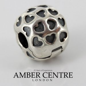 PANDORA Genuine S925 ALE Silver Unique Love Heart Clip Charm 791037 RRP£55!!!