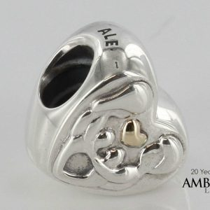 PANDORA Genuine -HEART OF THE FAMILY SILVER & GOLD CHARM -791771 RRP£75!!!