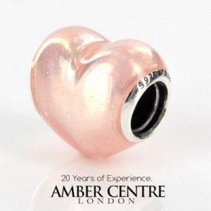 PANDORA Genuine S925 ALE PINK GLITTERING HEART Silver Charm-791886EN113 RRP£70!!!