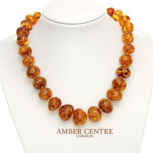 German Handmade Elegant Natural Baltic Amber Bead Necklace A0060 RRP£1100!!!
