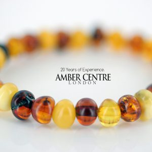 Genuine Natural Multicoloured Baltic Amber Teething Baby/Child Bracelet A00645 RRP£25!!!