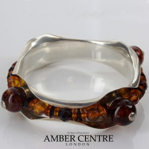 Italian Handcrafted Bangle 925 solid Sterling Silver with Assorted Baltic Amber BAN137 RRP£750!!!