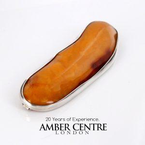 Antique Butterscotch Baltic Amber Handmade 925 Silver Brooch BD066 RRP£2500!!!