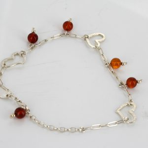 Italian Handmade Baltic Amber Bead Bracelet with Silver Hearts in 925 Sterling Silver BR084 RRP£70!!!