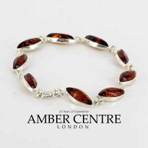 Italian Made German Baltic Amber Elegant Bracelet in 925 Sterling Silver BR087 RRP£125!!!