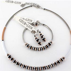 Genuine German Hand Made Coeur De Lion Varnished Brass Set White Necklace and Bracelet 4737/1400 RRP£280!!!