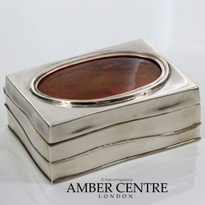 German Antique Trinket Box with Baltic Amber 925 Silver CAR0118 RRP£1000!!!